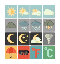 flat icons weather vector image vector image
