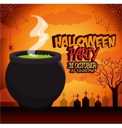 poster halloween party with cauldron design vector image vector image