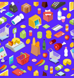 supermarket shopping isometric seamless pattern vector image