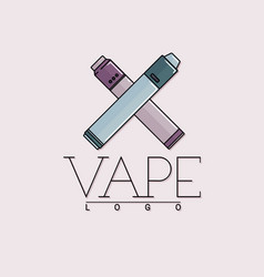 vaping logo with two crossed mechanical vector image vector image