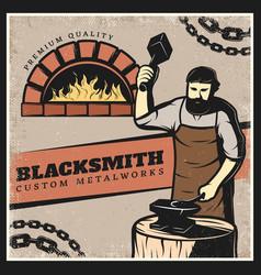 vintage colorful blacksmith poster vector image