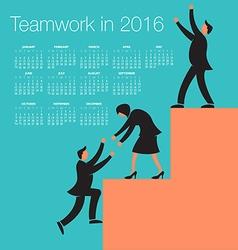 2016 Teamwork calendar vector image vector image