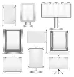 Blank trade stand displays and billboards isolated vector image vector image