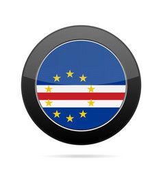 flag of cape verde shiny black round button vector image