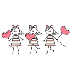 girl in love running with heart valentines day vector image
