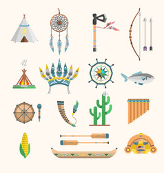 indian boho icons elements traditional vector image vector image