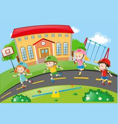 kids rollerskating on the road vector image vector image
