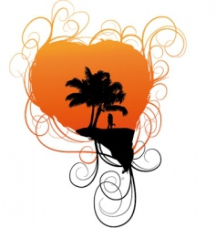 romantic tropical scene vector image vector image