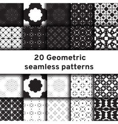 Set of 20 monochrome seamless patterns vector image