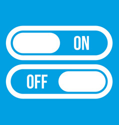Button on and off icon white vector