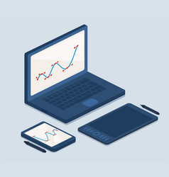 laptop and tablet computers for work vector image vector image