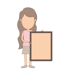 Light color caricature faceless full body woman vector