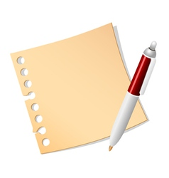 paper note and pen vector image