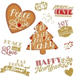 set of Christmas and NY stickers and logotypes vector image