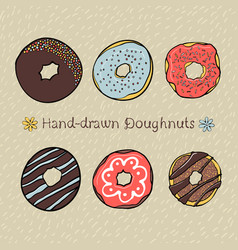 set of hand-drawn dougnuts vector image vector image