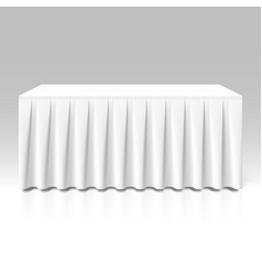 White pleated table-skirting vector image vector image