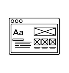 wireframe in window lined icon website page line vector image vector image