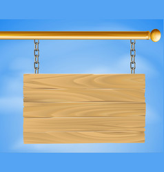 wooden hanging sign vector image vector image