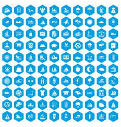 100 water sport icons set blue vector