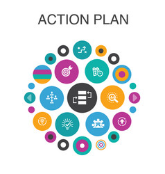 Action plan infographic circle concept smart ui vector