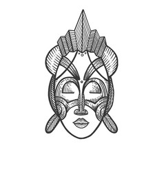 African mask of savages sketch engraving vector