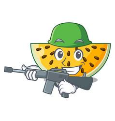 army fresh yellow watermelon on character cartoon vector image