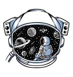 Astronaut sitting contemplating in helmet frame vector