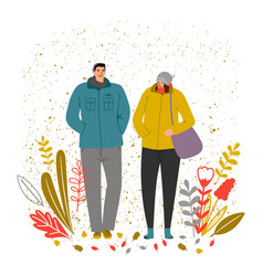 autumn time man and woman vector image