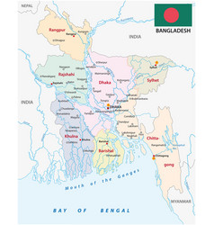 bangladesch administrative and political map with vector image