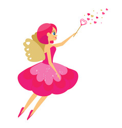 Beautiful cupid girl spreading love dust winged vector