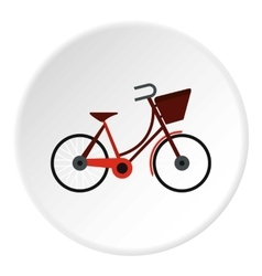 Bike with front bag icon flat style vector