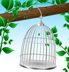 Bird cage on a tree branch vector