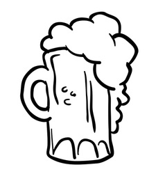 black and white beer vector image