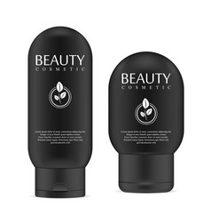 black realistic cosmetic product bottles vector image
