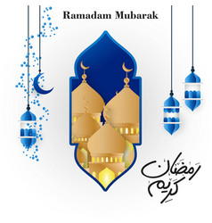 Blue hangning lantern mosque with creative vector