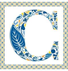 Blue letter C vector image