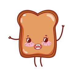 Bread breakfast food cute kawaii isolated icon vector
