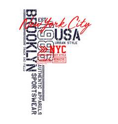 Brooklyn usa design typography varsity vector