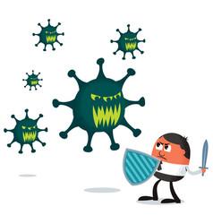 Businessman fighting virus vector