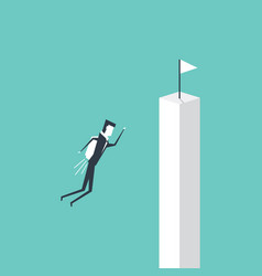 businessman flying to white flag on cliff vector image