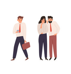 cartoon man and woman office worker gossiping vector image