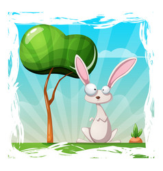 cartoon summer landscape rabbit vector image