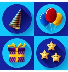 Celebrating birthday party flat icon set vector