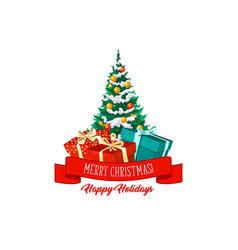 christmas tree gifts and decorations icon vector image