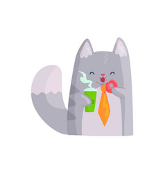 Cute businessman cat holding cup of coffee and vector