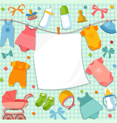 cute frame for scrapbook new born baby funny vector image