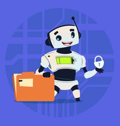 Cute robot protect data modern artificial vector