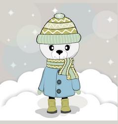 cute winter bear in a coat vector image