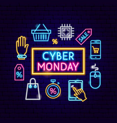 cyber monday sale neon concept vector image