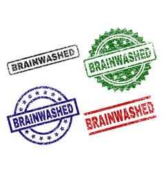 Damaged textured brainwashed stamp seals vector
